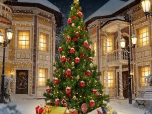 Elegante árbol de Navidad decorado