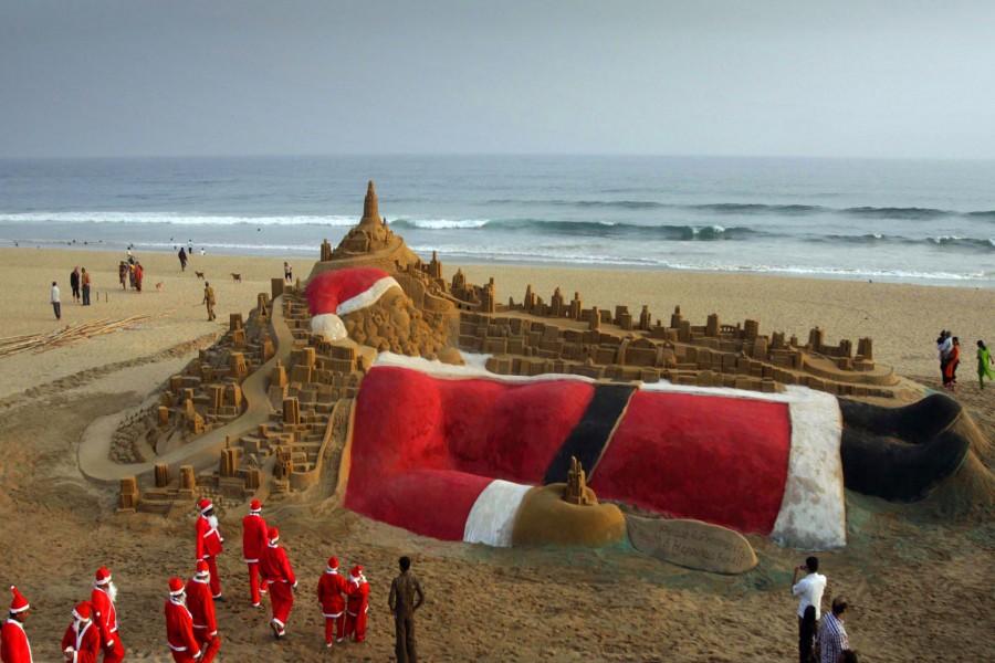 Escultura de arena de Papá Noel