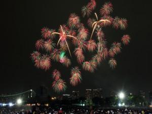 Brillantes fuegos artificiales en Tokio (Japón)