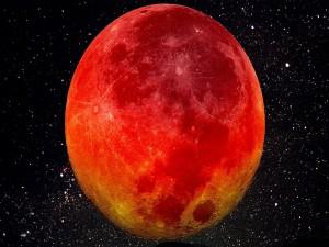 Luna roja sobre un cielo estrellado
