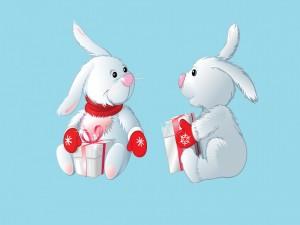 Conejos con manoplas rojas y regalos