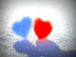 Corazones azul y rojo