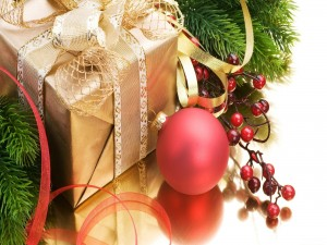 Adornos y regalo de Navidad