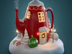 Una tetera muy navideña
