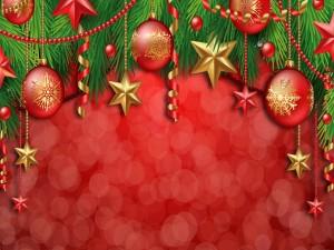Decoración de Navidad en fondo rojo