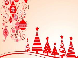 Árboles abstractos y una variedad de adornos de Navidad en rojo