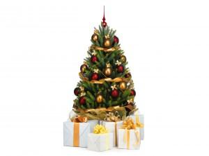 Regalos junto a un árbol de Navidad