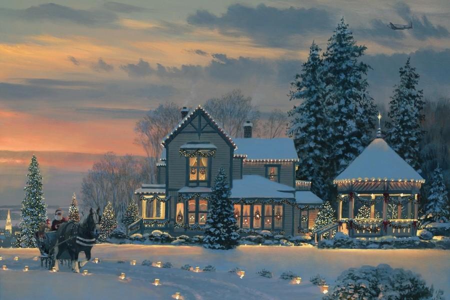 Papá Noel pasando frente a una casa en Navidad