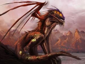 Dragón en un acantilado