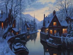 Casas cerca del río en una noche de invierno