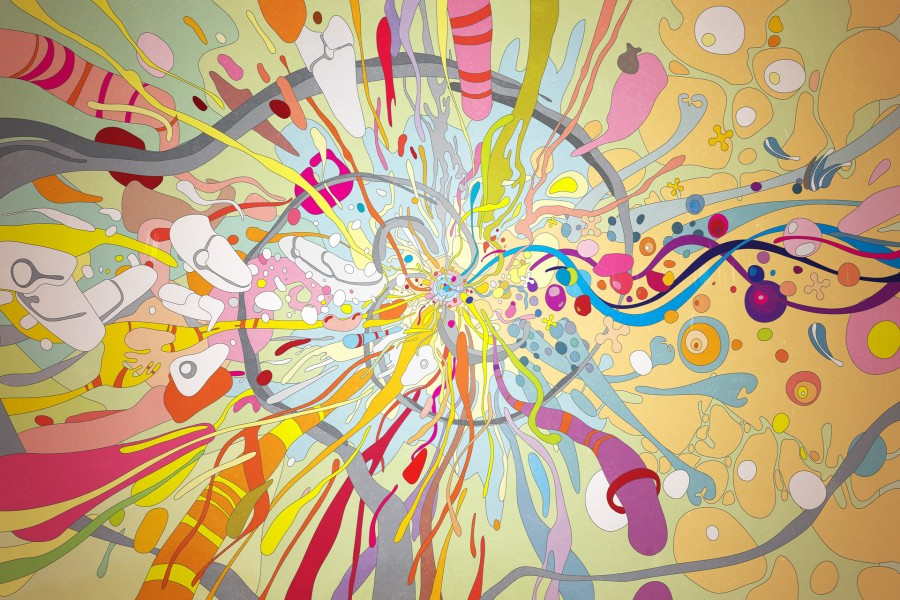 Imagen abstracta con colores brillantes