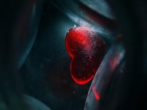 Corazón dentro de un vidrio