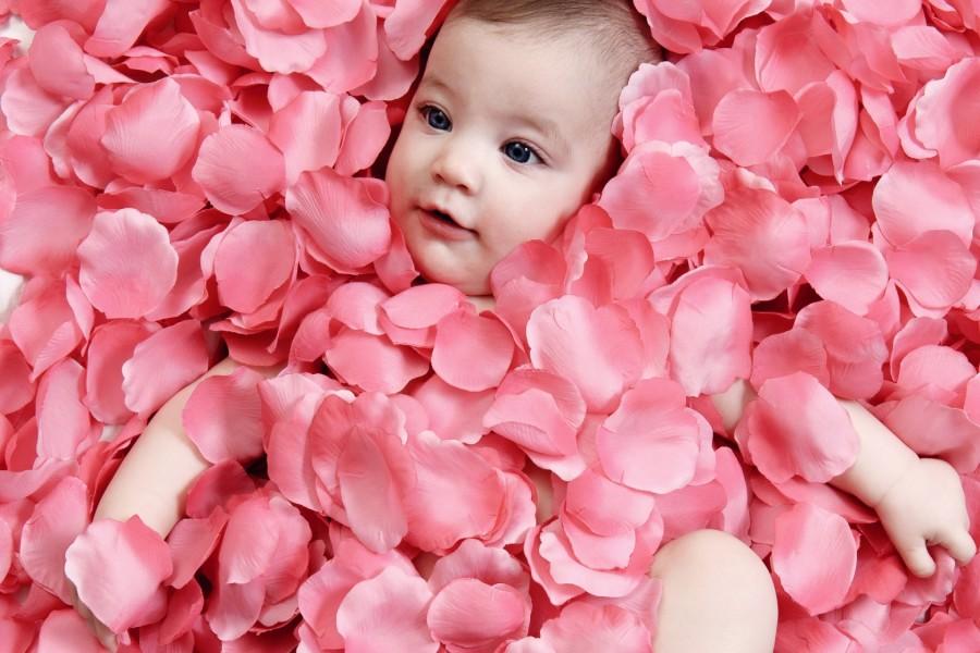 Bebé entre pétalos de rosa