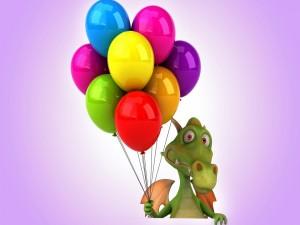 Dragón con coloridos globos