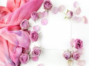 Postal: Románticas rosas, con una nota en blanco